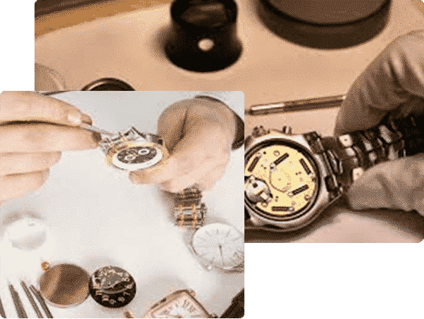 wrist watch being examined surrounded by other watch faces