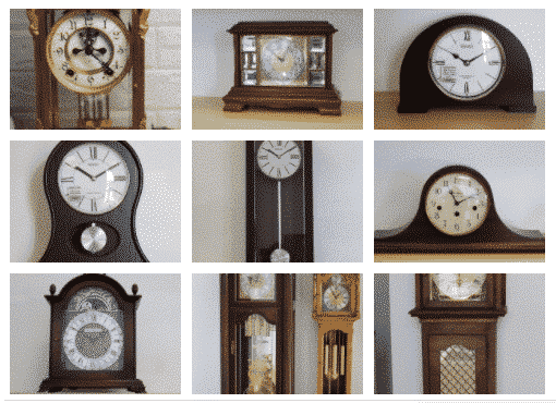 9 different style clocks in 3 x 3 formation