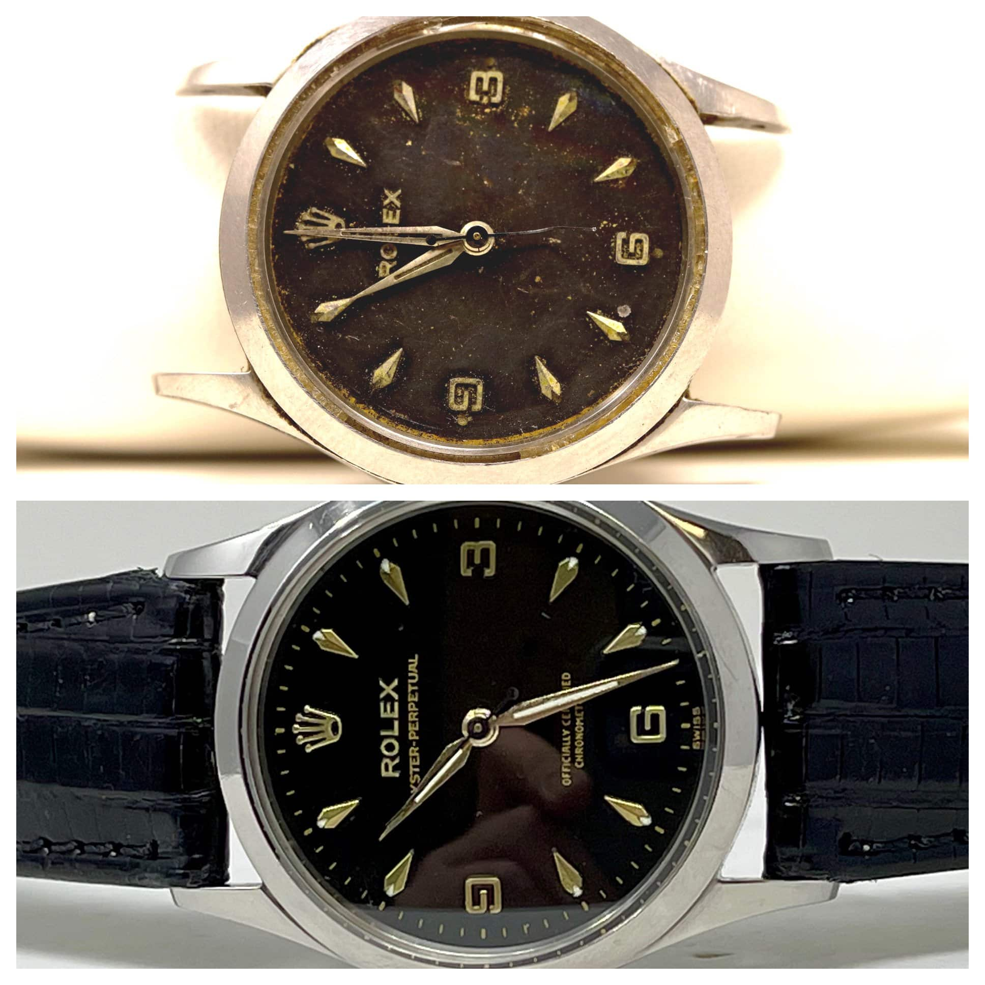 old corroded rolex watch and restored showing before and after