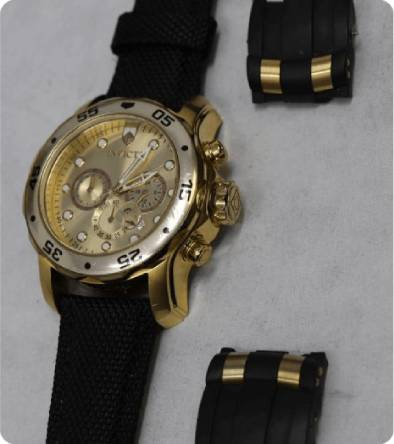gold invicta watch with black band