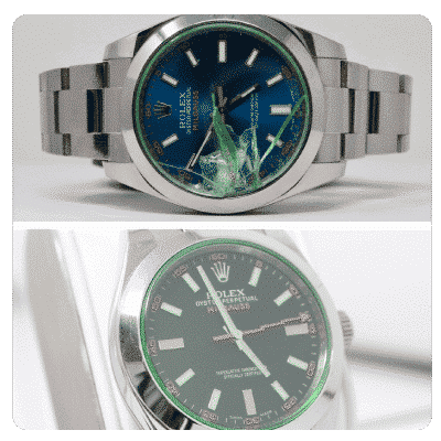 cracked rolex face before and after fixed