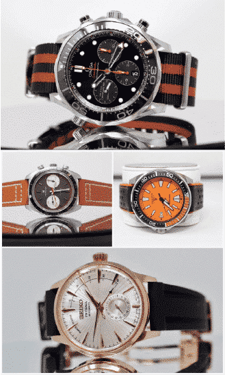 collage of 4 watches next to each other