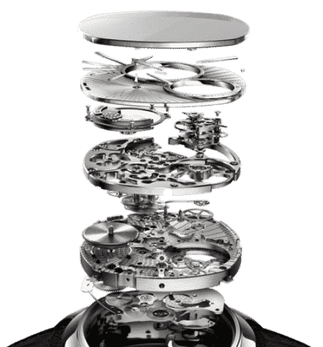 the insides of a watch abstract stacked above each other
